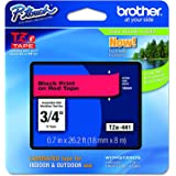 """Brother Genuine P-touch TZE-441 Tape, 3/4"""" (0.7"""") Wide Standard Laminated Tape, Black on Red, Laminated for Indoor or…"""