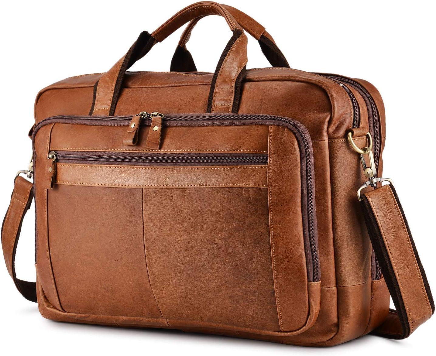 "BAIGIO Men's Leather 17"" Laptop Business Briefcase Shoulder Tote Bag Portfolio Satchel Lawyers Briefcases for Men (Tan-2)"