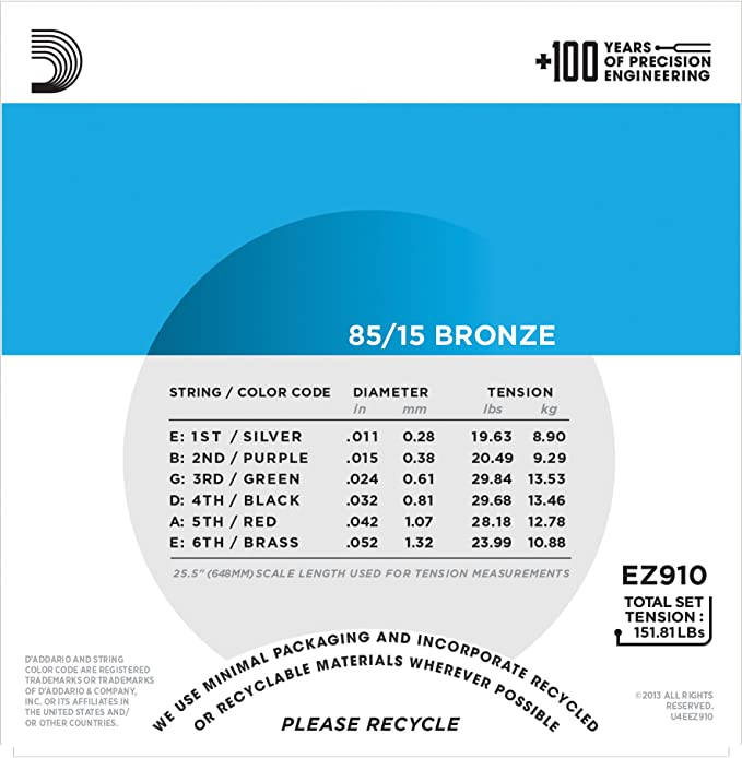 D\'Addario EZ910 Bronze Light (.011-.052), 85/15 Acoustic Guitar ...