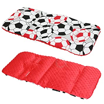 Liner Covers 5pt Universal Football//red Reversible Cotton /& Minky Pram Insert