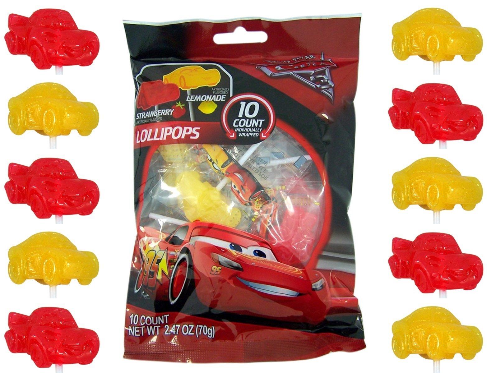 Disney Pixar Cars 3 Lightning McQueen Lollipops, 10 Count Bag