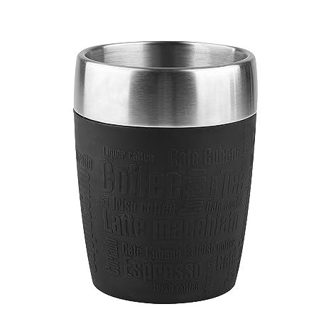 Emsa Travel Mug Taza térmica, Mantiene la Temperatura, Acero Inoxidable con Base Antideslizante y Zona de Agarre de Silicona con Letras grabadas, ...