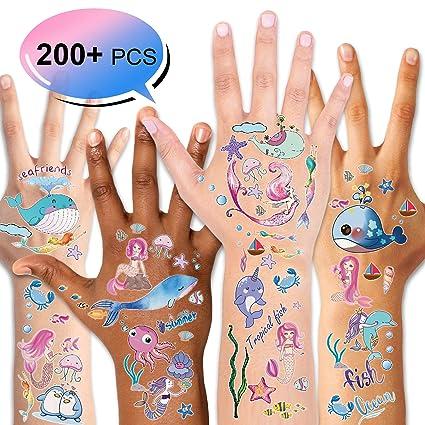 12 Mermaid Temporary Tattoos Kid Sea Life Birthday Party Goody Bag Favor Supply