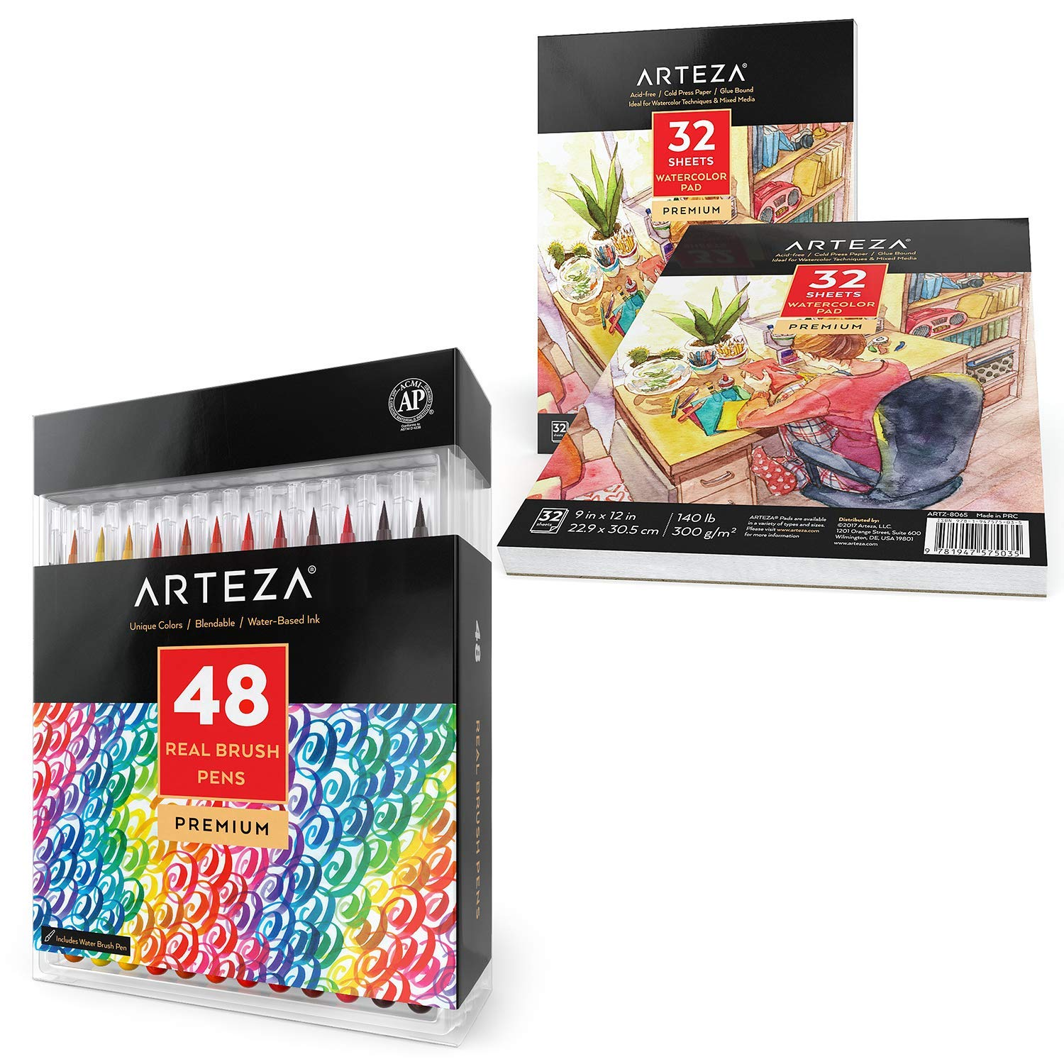 ARTEZA Real Brush Pens Bundle: Pack of 48 and 9x12'' Premium Watercolor Pad, Pack of 2, 32 Sheets Each, Ideal for Painting, Sketching, Coloring, Drawing, and Calligraphy