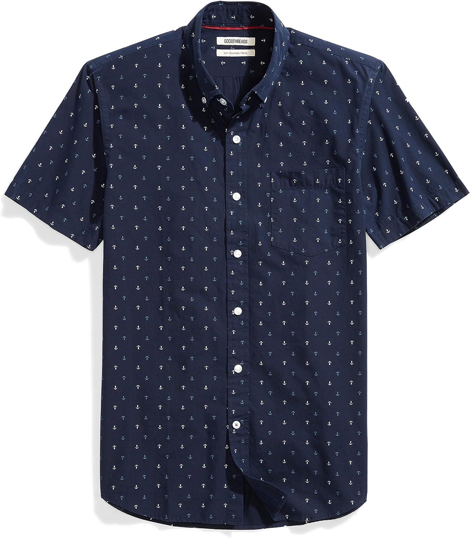 Amazon Brand - Goodthreads Men's Slim-Fit Short-Sleeve Printed Poplin Shirt
