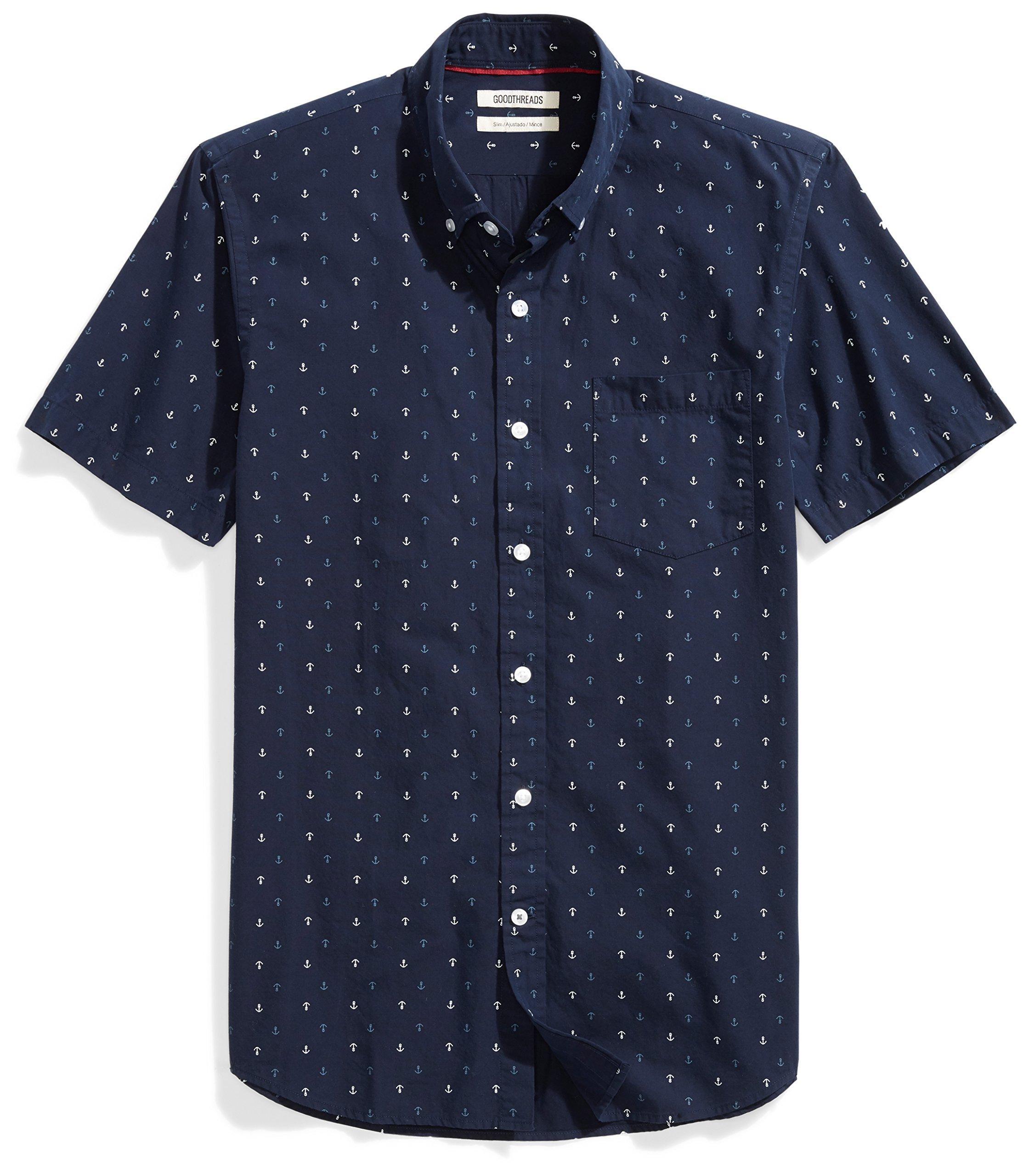 Goodthreads Men's Slim-Fit Short-Sleeve Printed Shirt, -navy ground anchor Printed, Medium