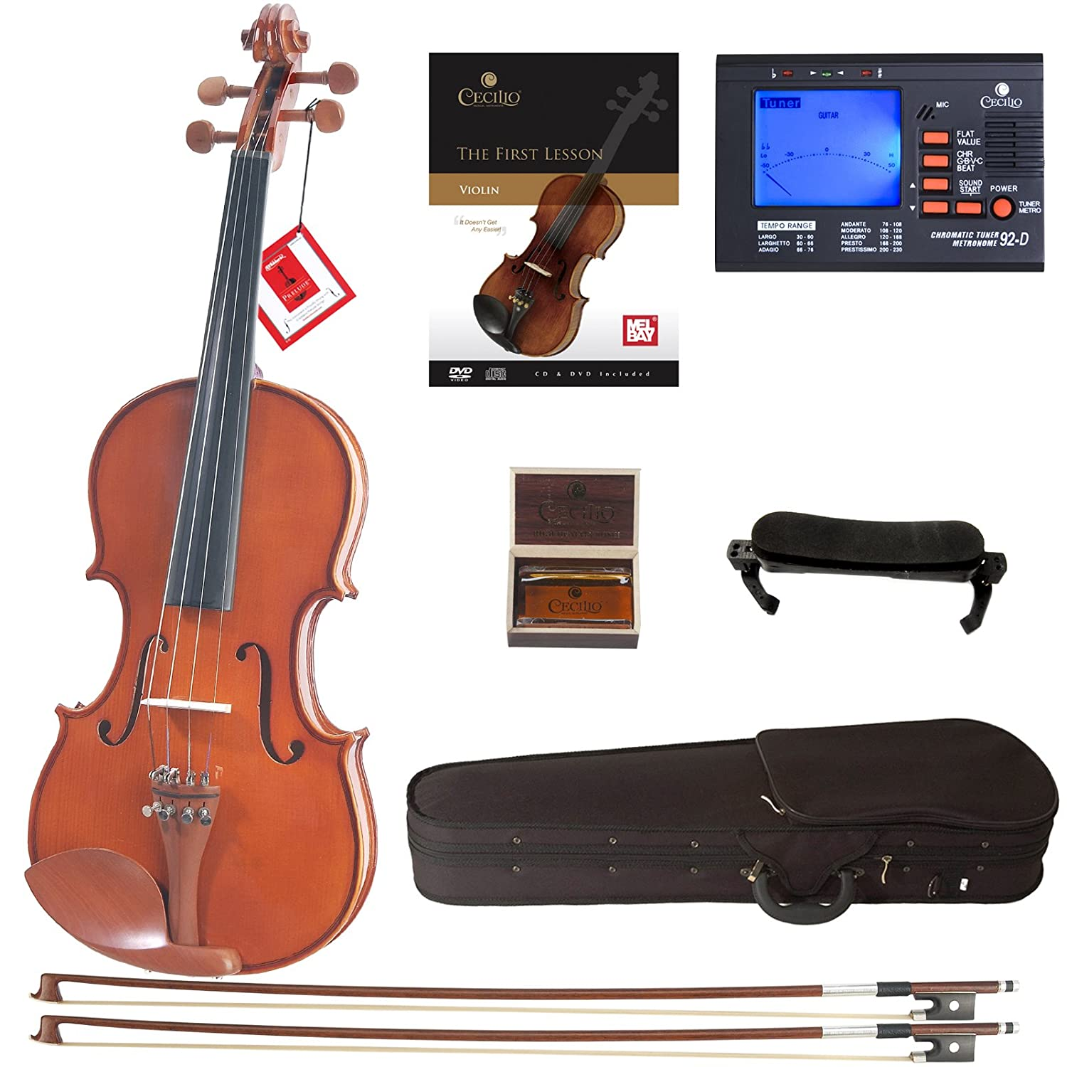 Cecilio CVN-200 Solidwood Violin with D'Addario Prelude Strings, Size 1/2