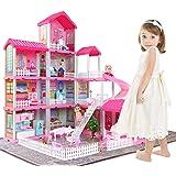 Temi Dollhouse Dreamhouse Building Toys Figure w/ Furniture, Accessories, Movable Slides, Pets and Dolls, DIY Cottage Pretend
