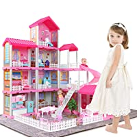 Temi Dollhouse Dreamhouse Building Toys Figure w/ Furniture, Accessories, Movable Slides, Pets & Dolls, DIY Cottage Pretend Play Doll House, Gift for Toddlers, Boys & Girls(11 Rooms)