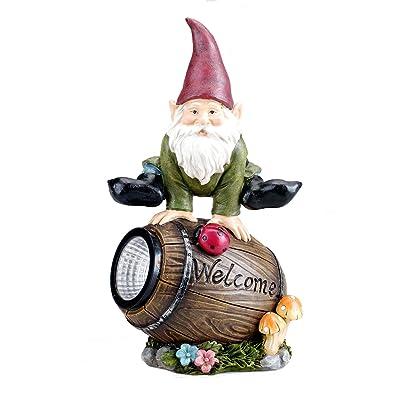 Bo-Toys Solar Powered Gnome Jumping Over a Barrel with Ladybug LED Garden Light Decor : Garden & Outdoor