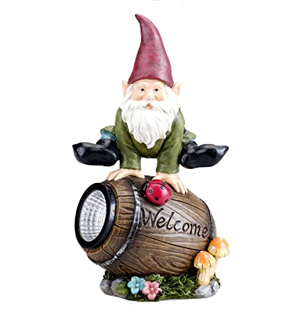 Solar Powered Gnome Jumping Over A Barrel With Ladybug LED Garden Light  Decor