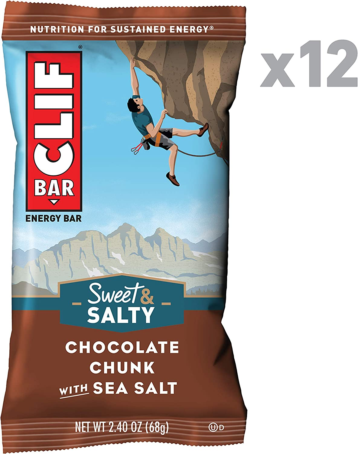 CLIF BAR - Sweet & Salty Energy Bars - Chocolate Chunk with Sea Salt - (2.4 Ounce Protein Bars, 12 Count) (Packaging May Vary)