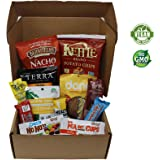 VeganWorks Assorted Vegan Snack Box: Candy Bars, Chocolate, Smoky Jerky, Chips, Crackers, and more. 100% VEGAN AND NON-GMO! 12-count