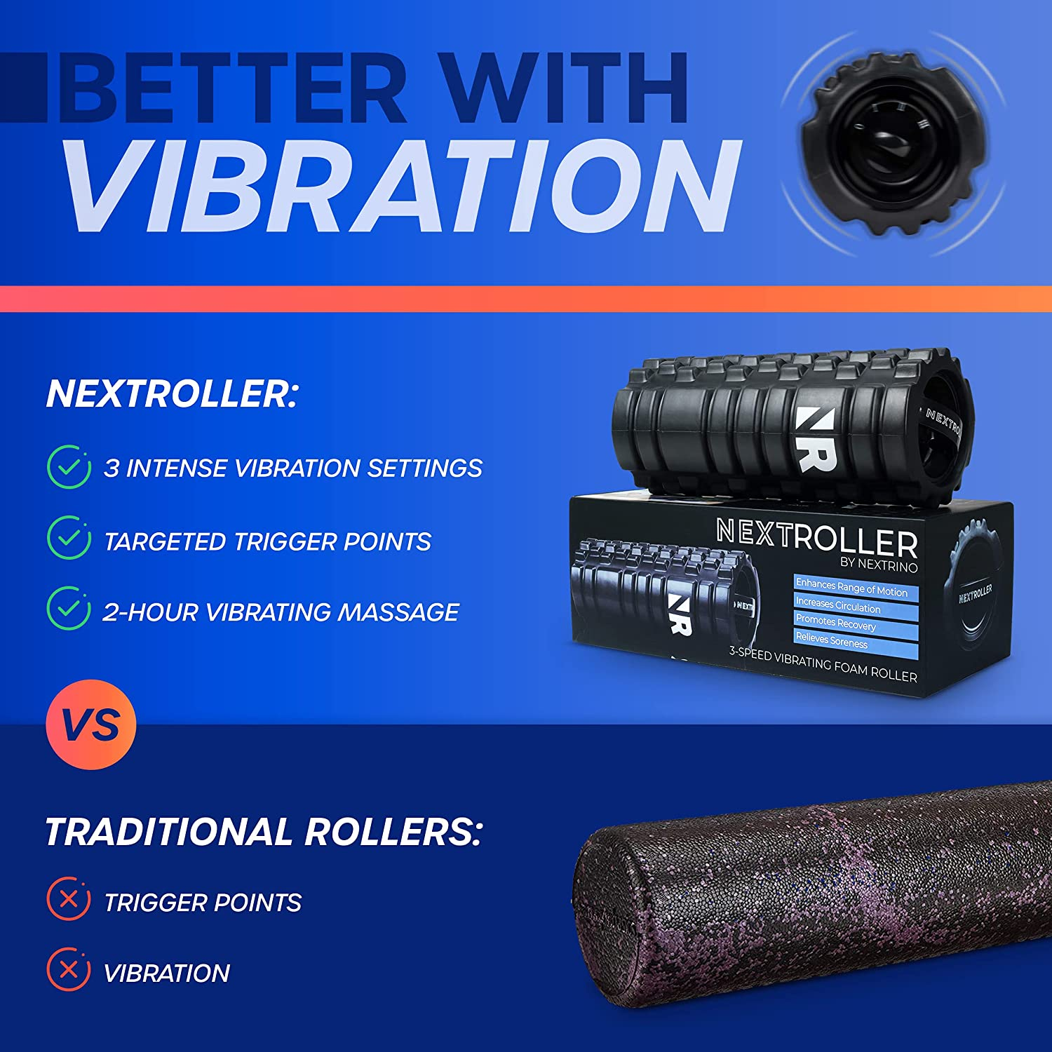 Details about  /Pulseroll 4 Speed Vibrating Massage Therapy Fitness Foam Roller Red 30cm