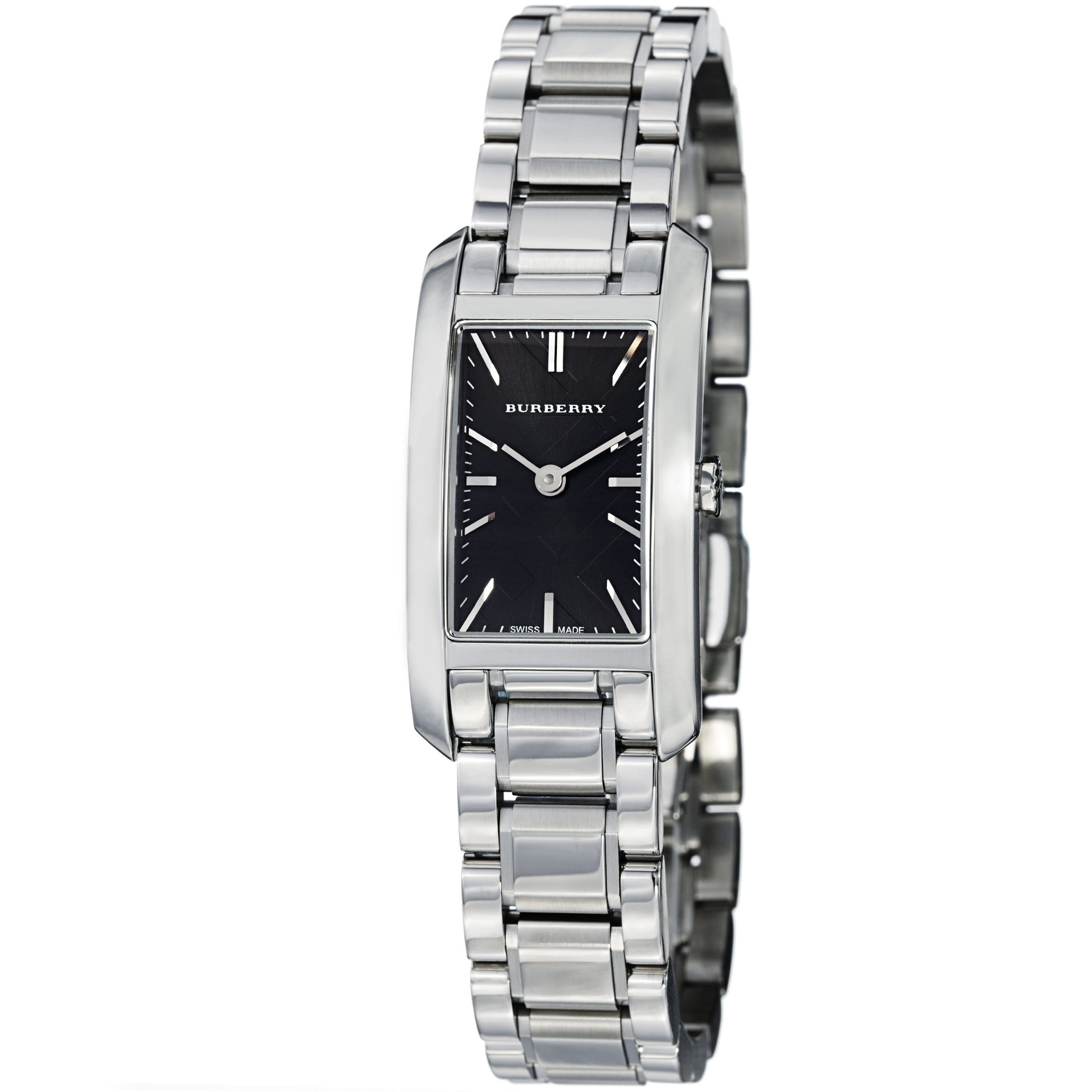 Burberry Check Engraved Rectangle Ladies-small Black Dial Stainless Steel Watch BU9501