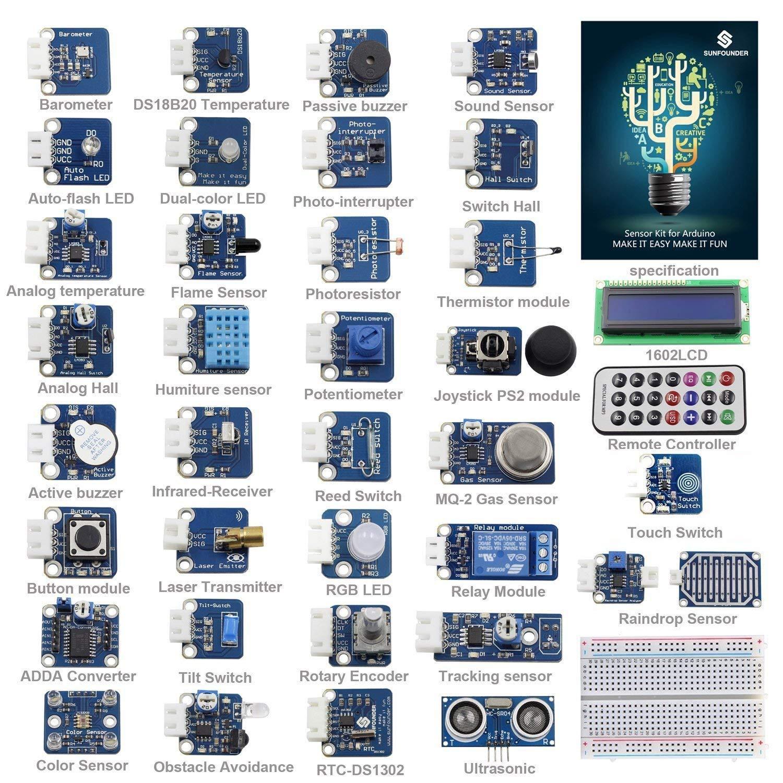 SunFounder Ultimate Sensor Kit for Arduino R3 Mega2560 Mega328 Nano - Including 98 Page Instructions Book