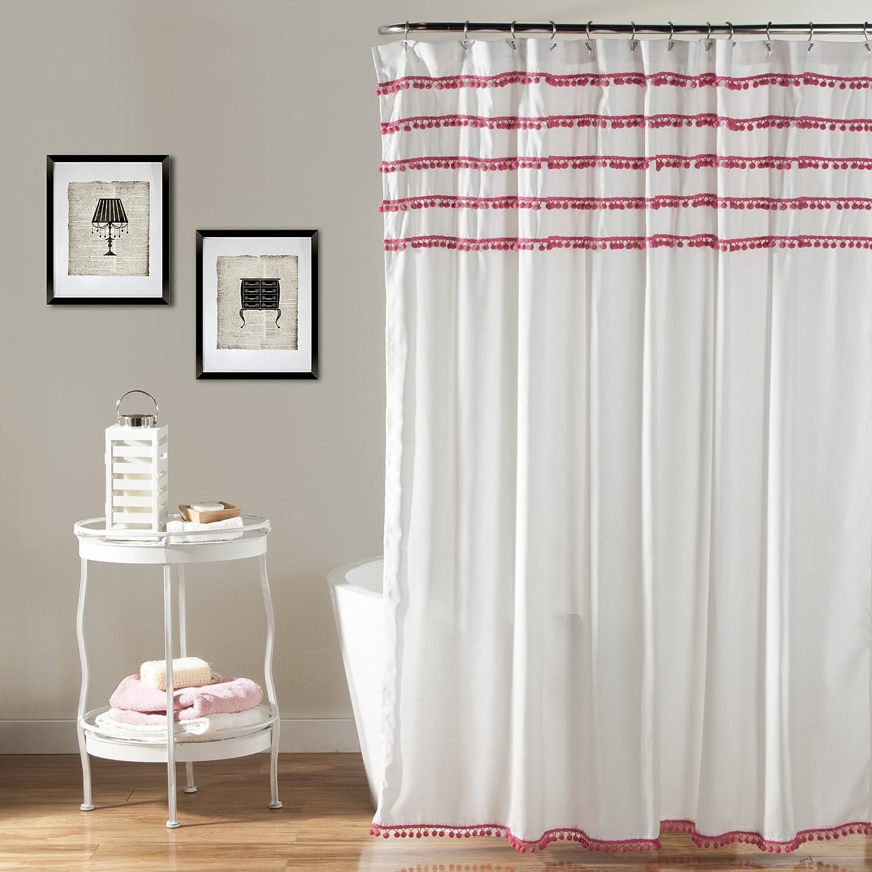Amazon.com: Lush Decor Aria Pom Shower Curtain, 72 x 72 inches ...