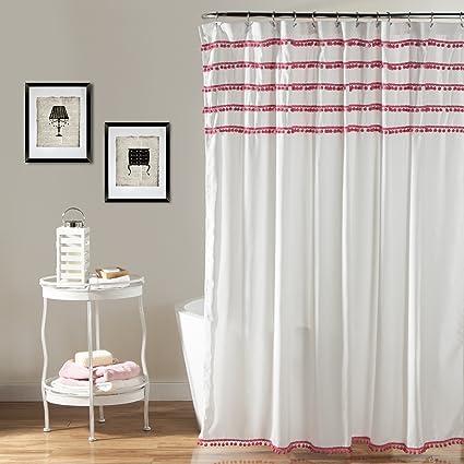 Lush Decor Aria Pom Shower Curtain 72 X Inches Pink