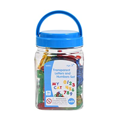 Edx Education Transparent Letters and Numbers Set - Mini Jar - Colorful, Plastic Letters and Numbers - Light Box Accessory - Sensory Play: Industrial & Scientific