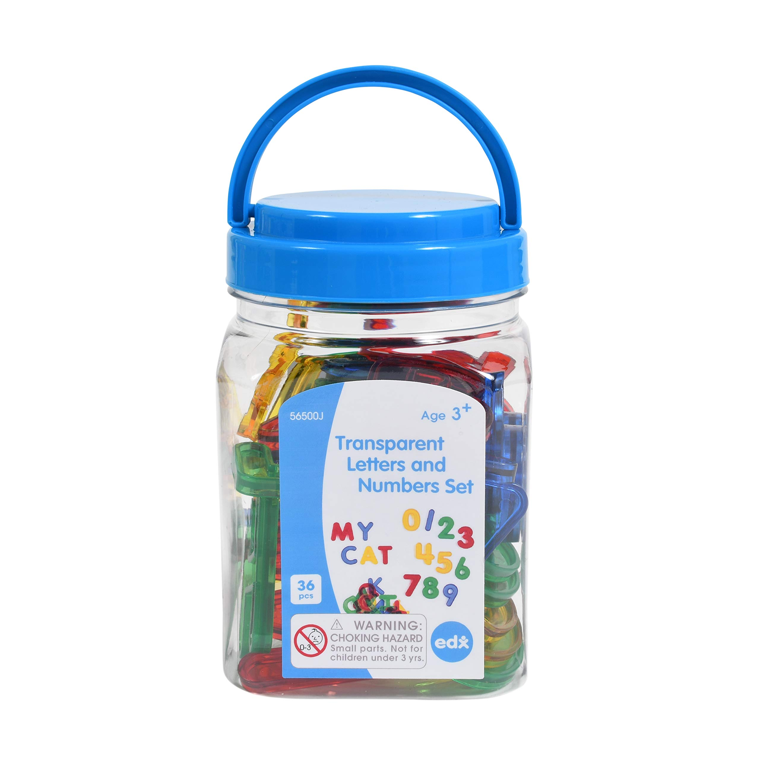edx education Transparent Letters and Numbers Set - Mini Jar - Colorful, Plastic Letters and Numbers - Light Box Accessory - Sensory Play