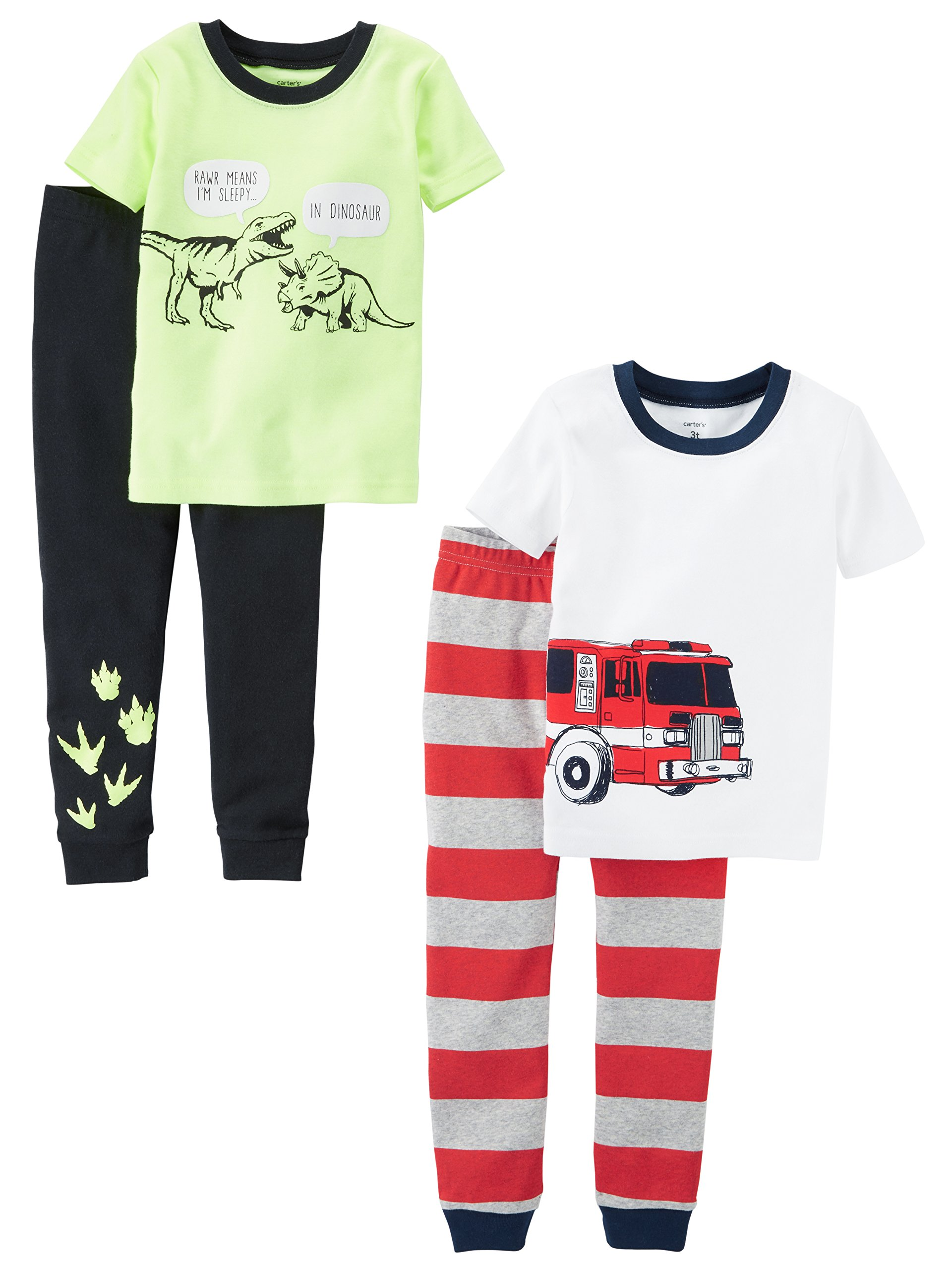Carter's Baby Boys' Toddler 4-Piece Cotton Pajamas, Fire Truck/Dino, 3T