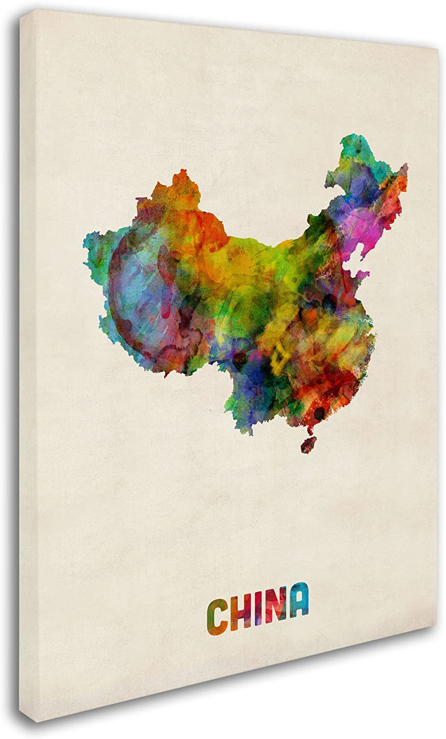 China Watercolor Map By Michael Tompsett 18x24 Inch Canvas Wall Art Posters Prints Amazon Com