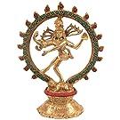 CraftVatika Nataraja Estatua de Latón Señor Shiv mitológica Dios Hindú Figura Decorativa Dancing Shiva Escultura