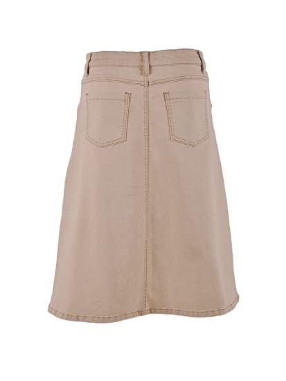 5045eea9503d6d Style J Simple Khaki Denim Skirt-Khaki-36(16) at Amazon Women's Clothing  store: