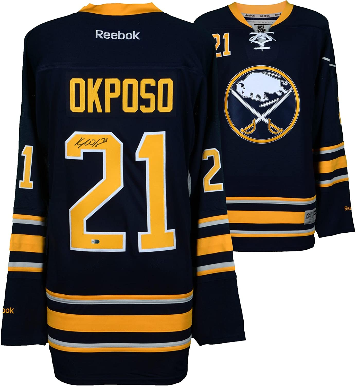 finest selection 8d947 8e61d Kyle Okposo Buffalo Sabres Autographed Navy Reebok Premier ...