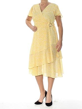 c8ece3b3e27e31 Michael Kors $175 Womens New 1382 Yellow Floral Print Wrap Dress M B+B at  Amazon Women's Clothing store:
