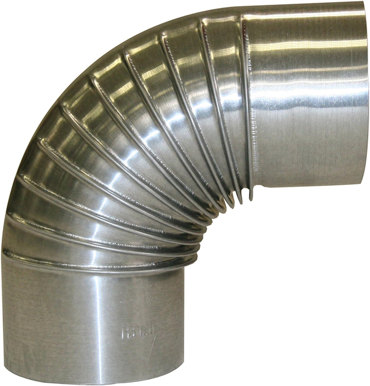 Kamino - Flam – Codo para chimenea de leña (150 mm/90°C), Codo para estufa de leña, Codo vitrificado, Codo tubo de escape – resistente a altas temperaturas – acero - plata