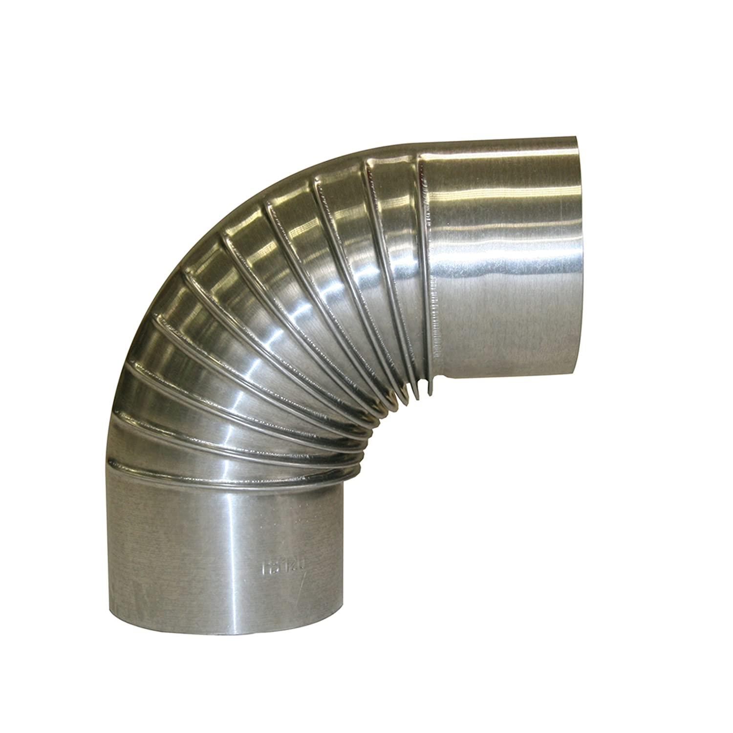 Kamino-Flam 90° Elbow Pipe Ø 100mm, Hot-dip Aluminised (FAL) Steel Stove Pipe Elbow, Heat Resistant Flue Pipe for Stoves, Stainless Elbow Chimney Pipe EN 1856-2 Standard Kamino - Flam 331180