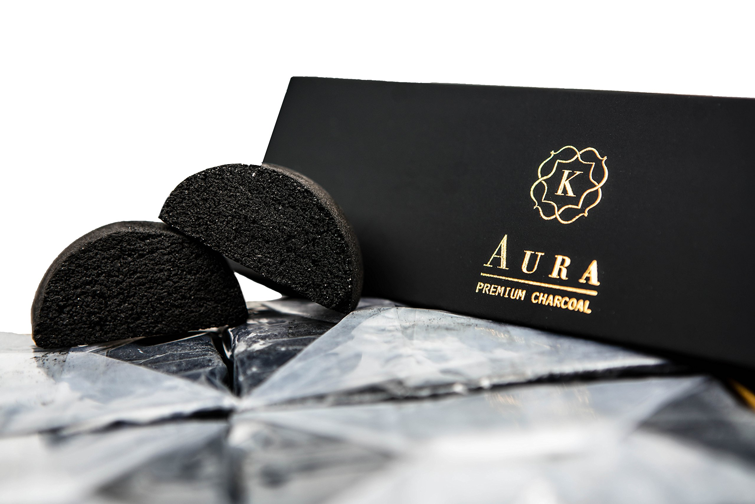 Kaloud Aura Premium Coconut Charcoal 96 Pieces For Clean And Smooth Hookah Sessions Fits Perfectly With Kaloud Lotus I+
