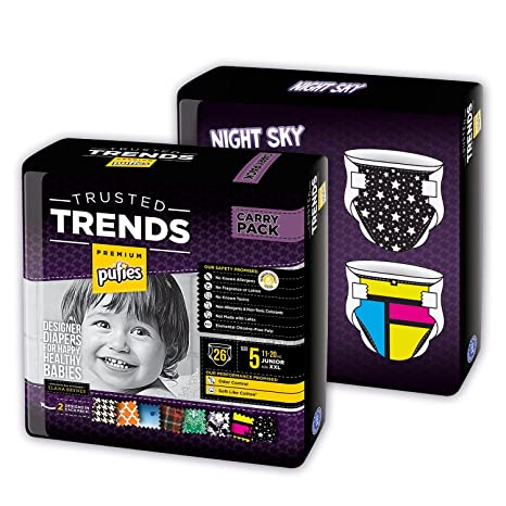 Pufies Trusted Trends Night Sky Baby - 52 Pañales, talla 5, 11-20