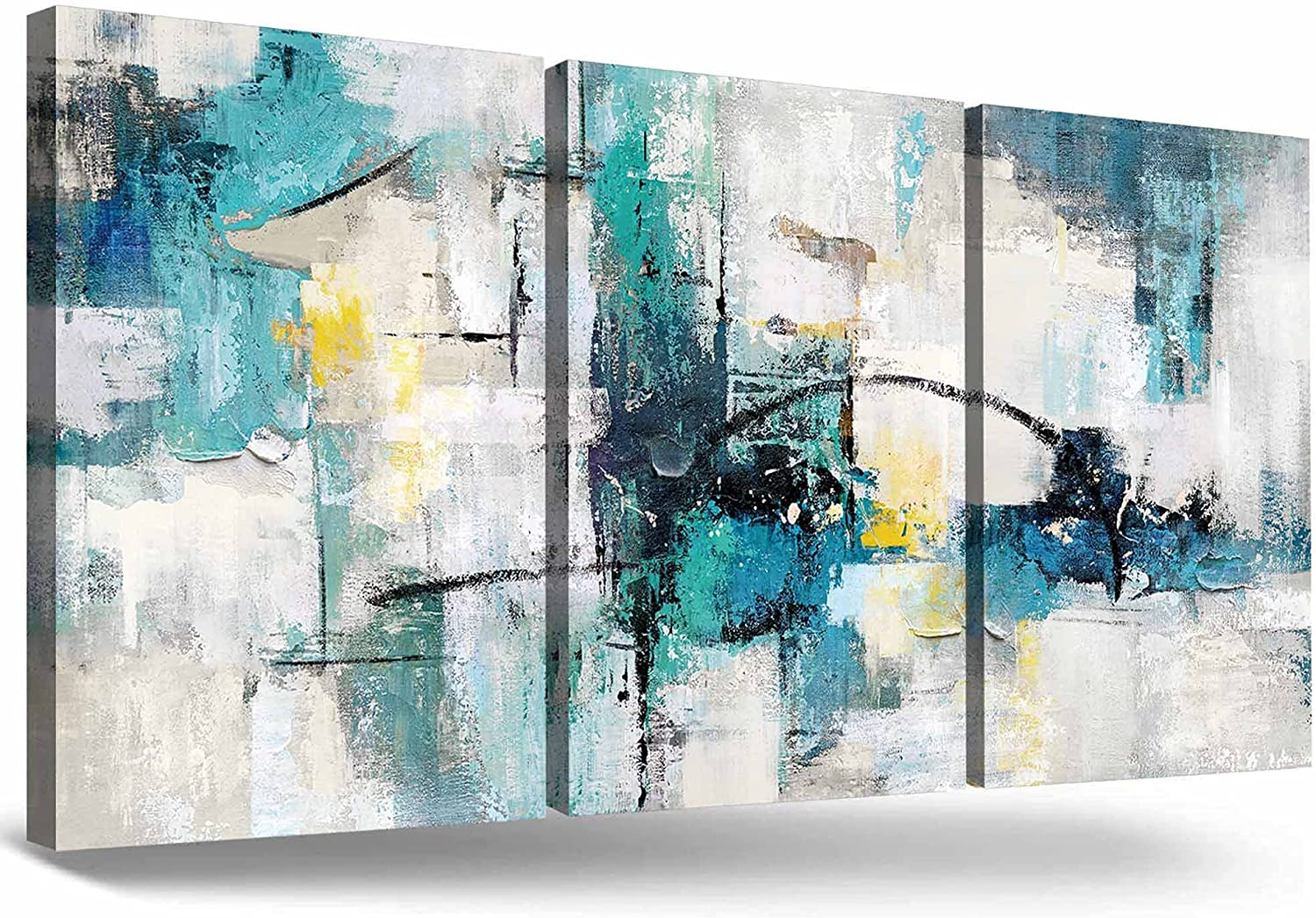 GIFTTWART Teal Blue Wall Art Gray Black Turquoise Wall Décor for Living Room 3 Piece Abstract Canvas Painting for Bathroom Bedroom Kitchen Office Decor Home Decorations NON-Handmade NON-3D 36''x16''
