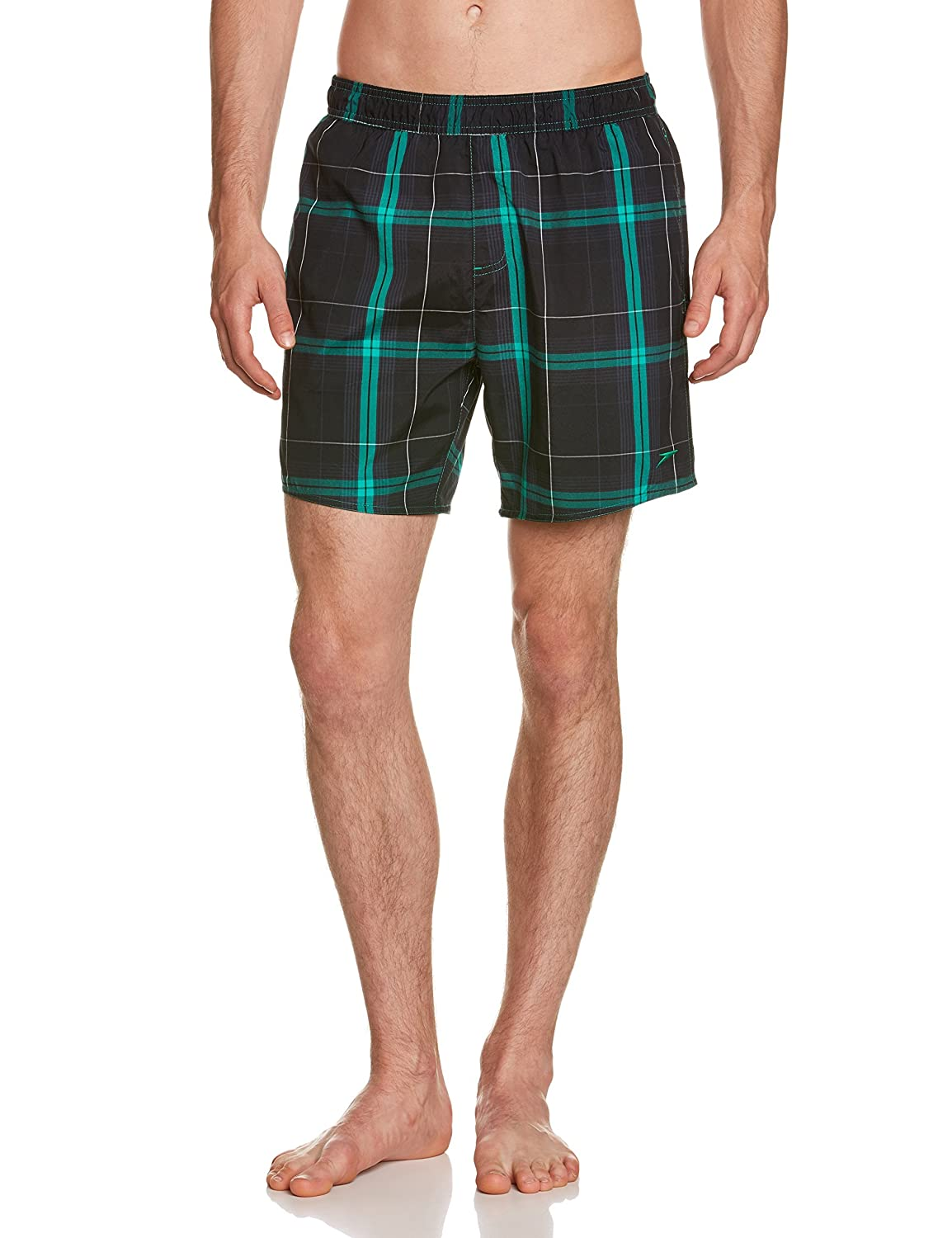 Speedo Check Leisure Men's 16-Inch Swimming Trunks, Yarn Dyed