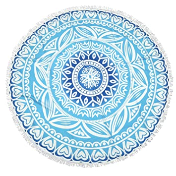 Lvtree Tapiz Redondo Spread Hippy Bohemia Mandala Roundie para Toalla de Playa, Mantel, Tapete de Yoga, Meditación, Cubierta de Mesa de Picnic, ...