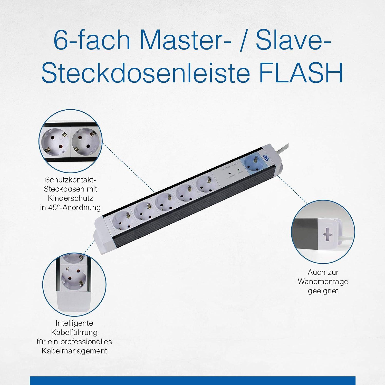 as Schwabe Steckdosenleiste Master-Slave Flash Mehrfachsteckdose 6-fach 18672