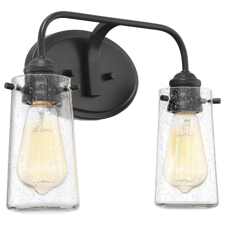 """Kira Home Rayne 14"""" Modern 2-Light Vanity/Bathroom Light, Seeded Glass + Matte Black Finish"""