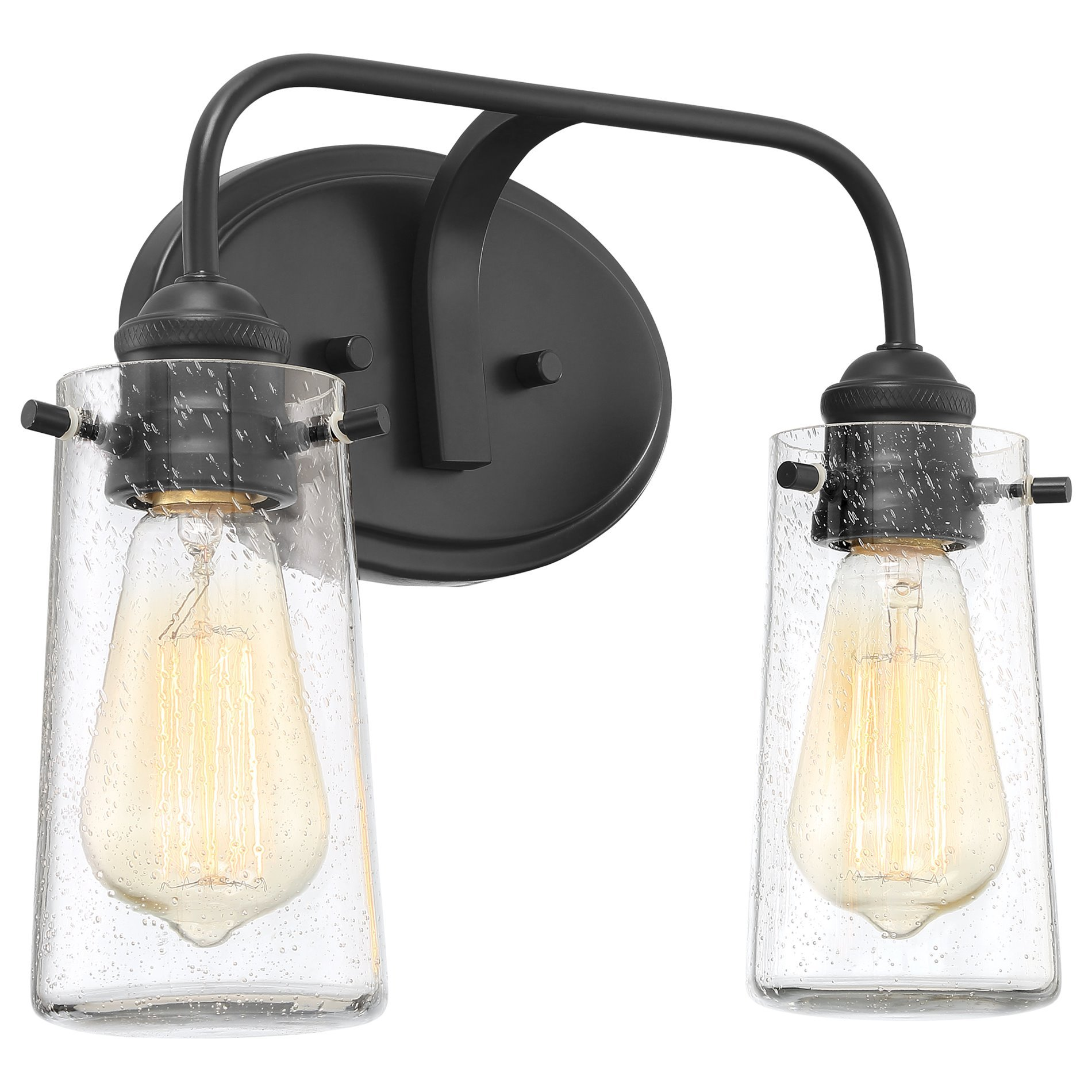 Kira Home Rayne 14'' Modern 2-Light Vanity/Bathroom Light, Seeded Glass + Matte Black Finish