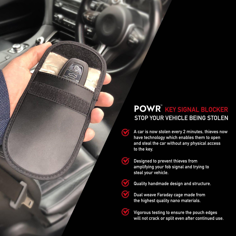 POWR 2 x Car Key Signal Blocker Pouch, RFID Blocking Faraday Case Protector  for Keyless Fobs and Remote Entry Keys