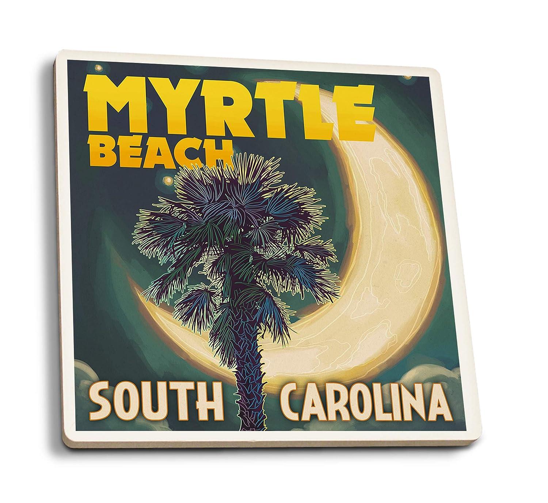 マートルビーチ、サウスカロライナ州 - パルメットムーンとパーム 4 Coaster Set LANT-44318-CT 4 Coaster Set  B07HFJ1RPW