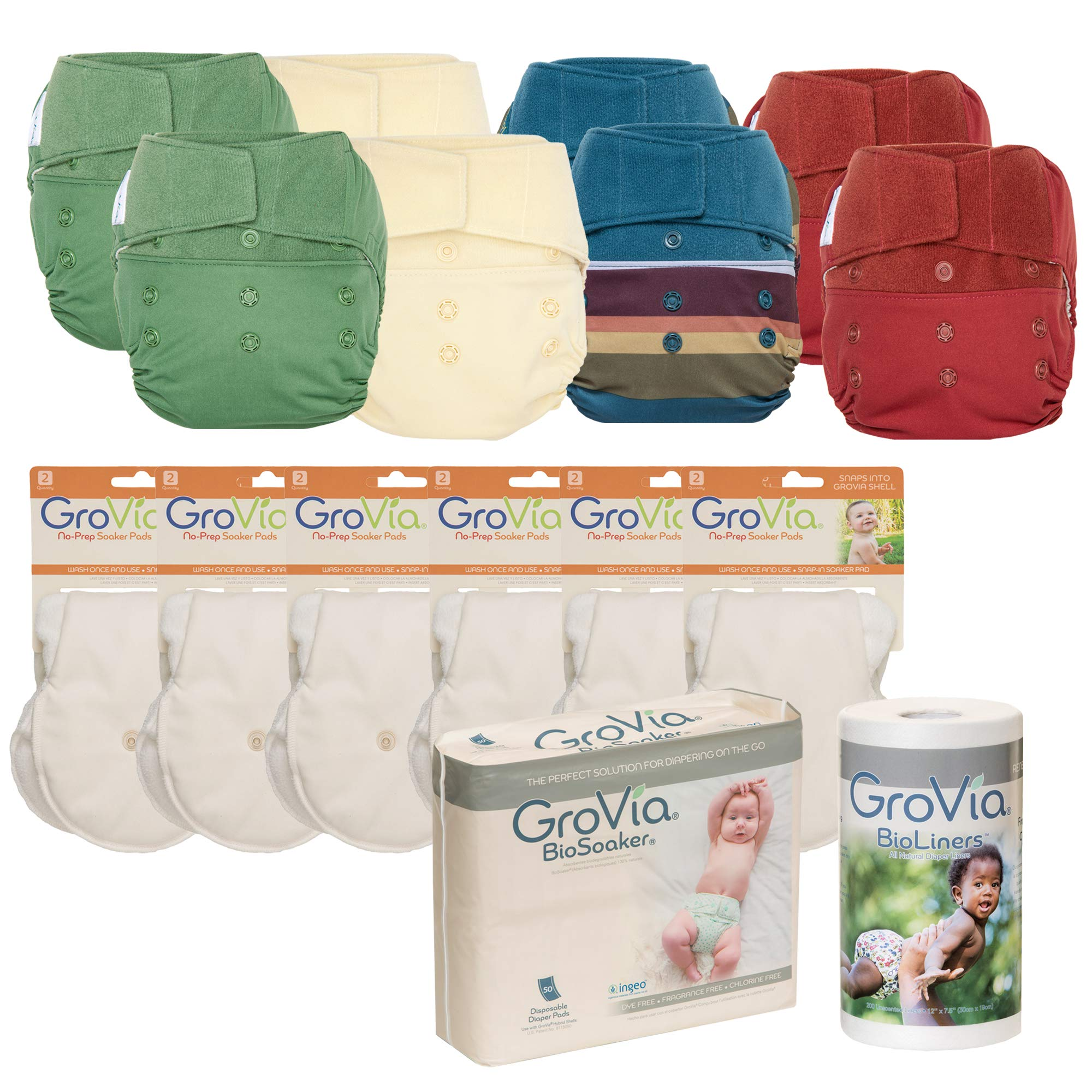 GroVia - Cloth Diaper Bundle for Natural Parenting – (8) Reusable Hybrid Diaper Shells – (1) BioSoaker Secure Eco Friendly Adhesive Inserts 50pk – (1) Unscented BioLiner 200ct – (6) No Prep Soaker Pad