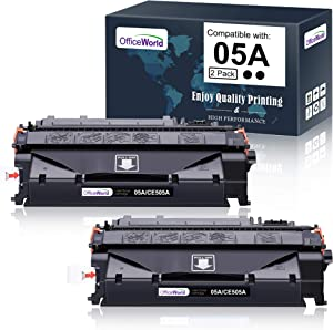 OfficeWorld Compatible Toner Cartridge Replacement for HP 05A CE505A (Black, 2-Packs), Work with Laserjet P2035 P2055dn P2035n P2055d P2055x Printer