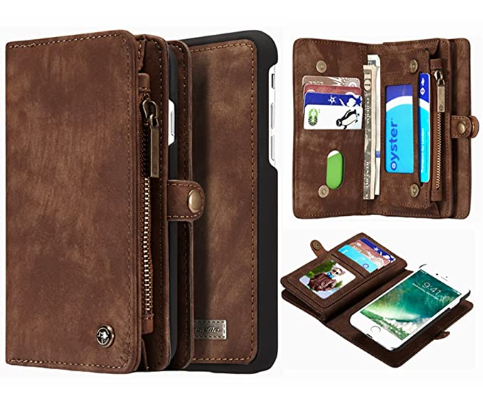 910217b3a429 iPhone 8 Plus iPhone 7 Plus Detachable Wallet Case, Hynice Leather Purse  for Women with Card Slots Zipper Pocket Removable Shockproof Shell Cover  for ...