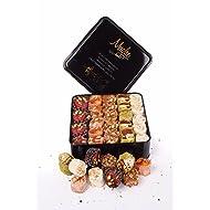 Luxury Turkish Delight Assorted Pistachio Gift Box 2.2lb.(52-54 pc. Double Layer) Pistachio w. Puffed Rice & Sultan, Orange w. Hazelnut, Honey w. Almond Holiday Sweets Gifts - Mughe Gourmet