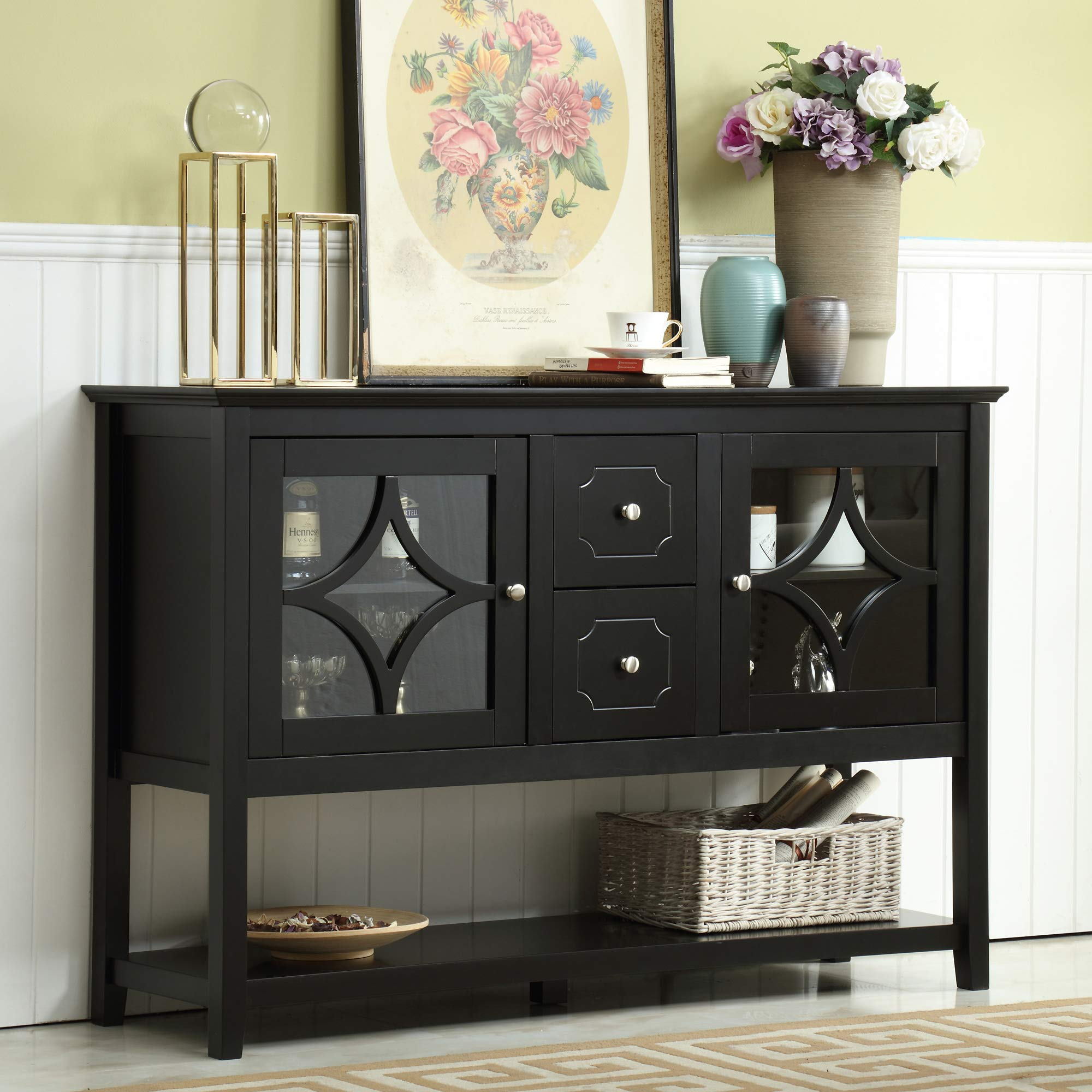 Mixcept 52'' Stylish Practical Sideboard Buffet Cabinet Wood Console Table Storage Cabinet with 2 Doors and 2 Drawers, Black by Mixcept