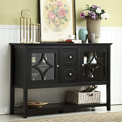 Amazon Com Mixcept 52 Sideboard Buffet Cabinet Wood Console Table Storage Cabinet With 2 Doors And Drawers Black Buffets Sideboards