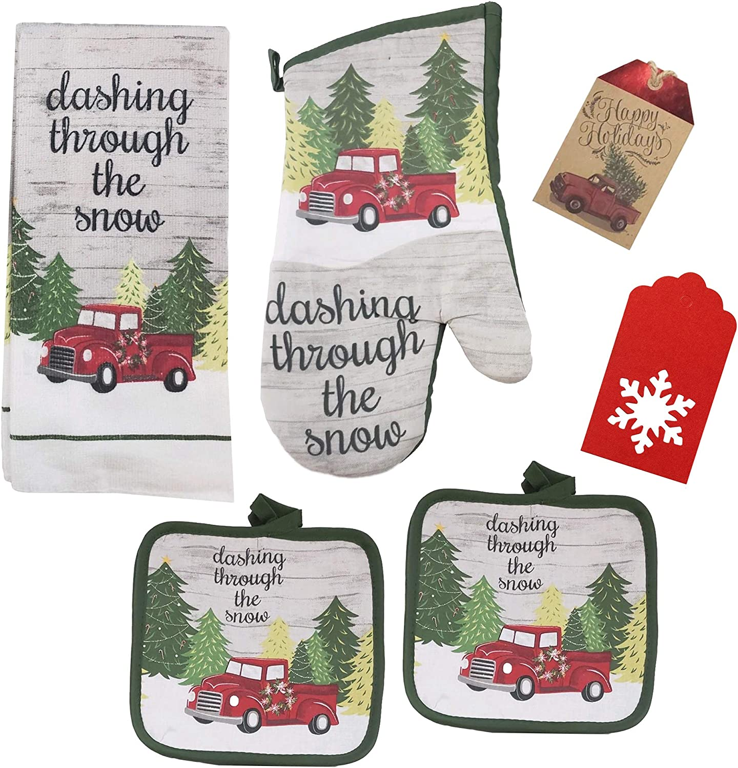 Christmas Kitchenware Set Including Hand Towel, Oven Mitts, Pot Holder, and Gift Tag. 6 Piece Gift Set (Retro Red Truck)
