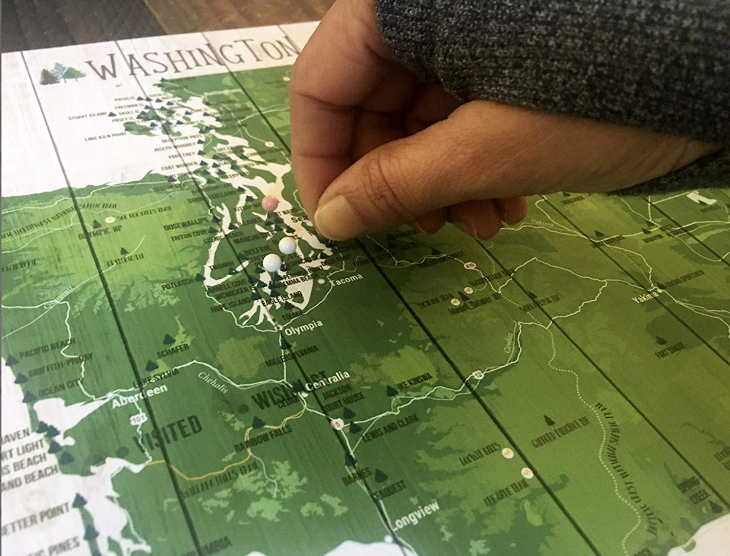 Various Sizes Pins Included Foam Mounted Vermont State Park Push Pin Map